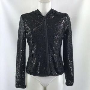 Doncaster Black Sequin Hooded Zip Up Hoodie Size 2